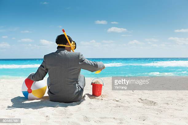 Businessman Having Fun Enjoying Vacation in Tropical Beach Hz