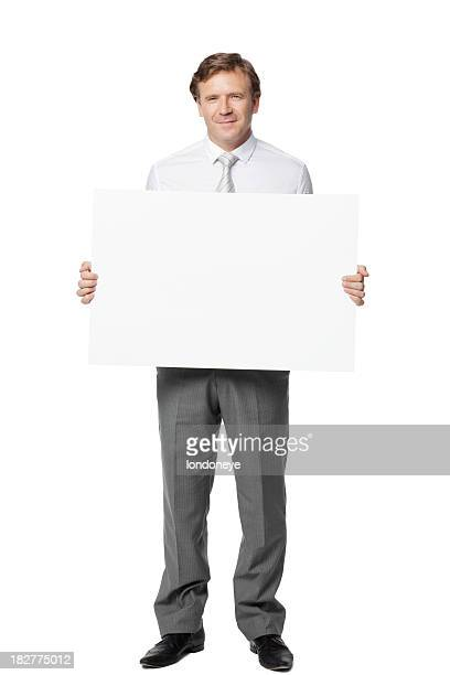 Businessman Holding a Blank Card - Isolated