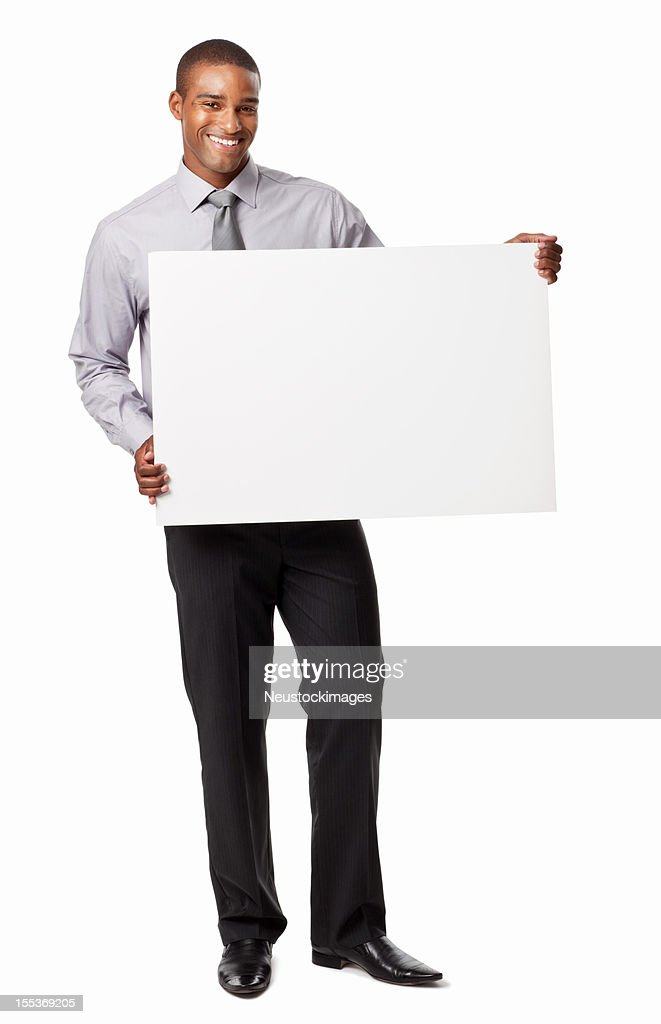 Businessman Holding A Blank Sign Isolated High-Res Stock ...