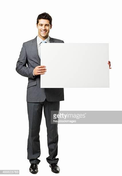 Geschäftsmann hält eine leere Schild-isoliert