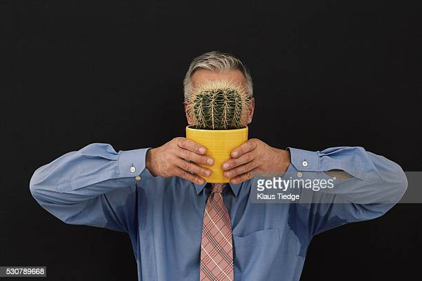 Businessman holding a potted cactus