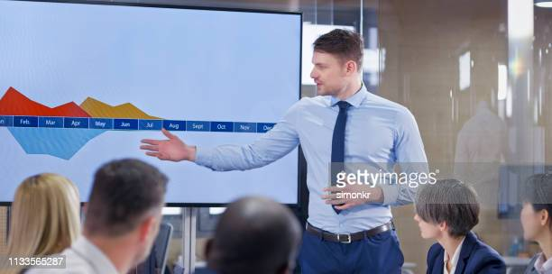ガラス会議室でプレゼンをするビジネスマン - セールストーク ストックフォトと画像