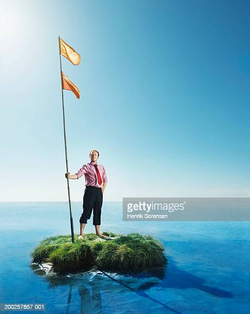 businessman holding flag pole on grass island, smiling, portrait - flagpole stock pictures, royalty-free photos & images