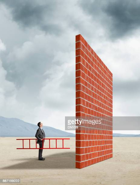 businessman holding ladder looking up tall brick wall - adversidade imagens e fotografias de stock