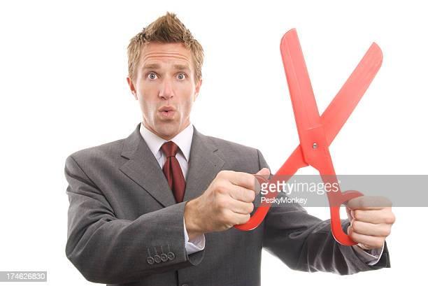 Geschäftsmann Holding Große rote Papier weißen Hintergrund