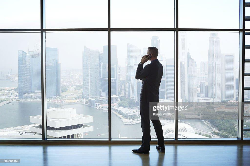 Businessman holding phone watching skyline : Stock Photo