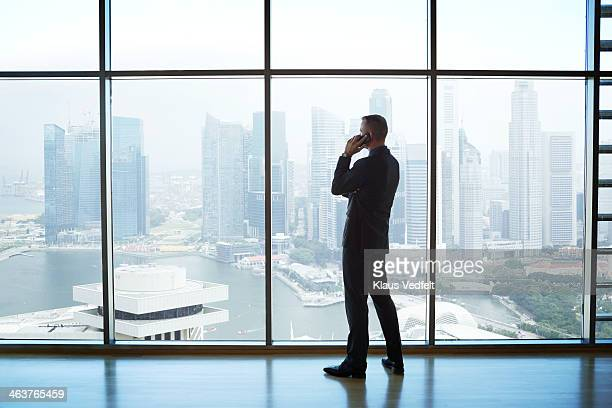 Businessman holding phone watching skyline