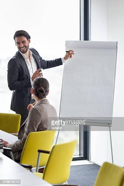 Businessman holding presentation