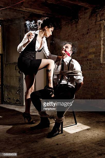 businessman hostage - bound woman stock photos and pictures
