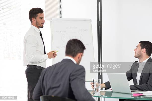 Businessman in boardroom leading a meeting with flip chart