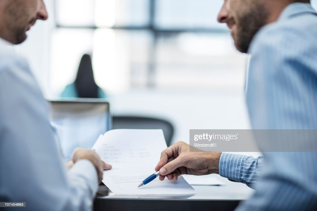 Businessman in counselling interview with customer : Stock Photo