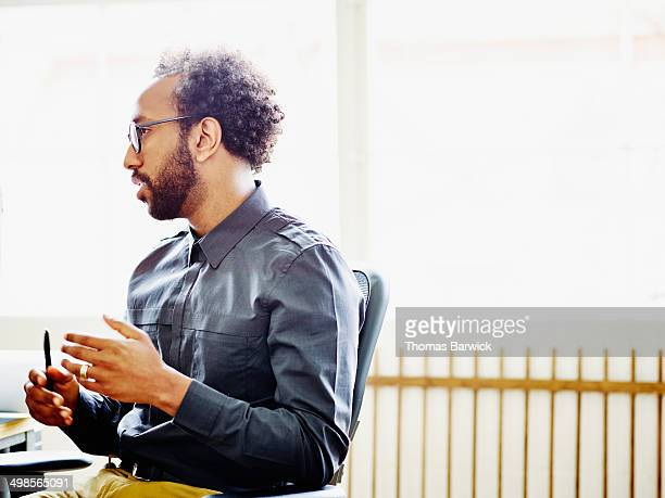 Businessman in discussion in office