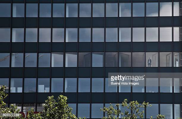Businessman in empty office building