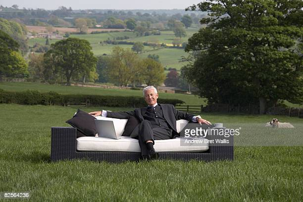 businessman in field relaxing on sofa - out of context stock pictures, royalty-free photos & images