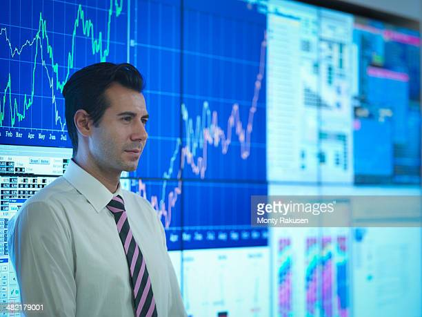 Businessman in front of presentation on graphical screens