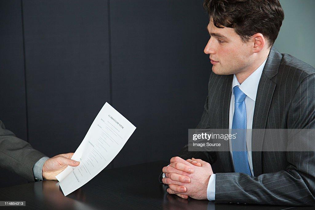 Businessman in job interview : Stock Photo