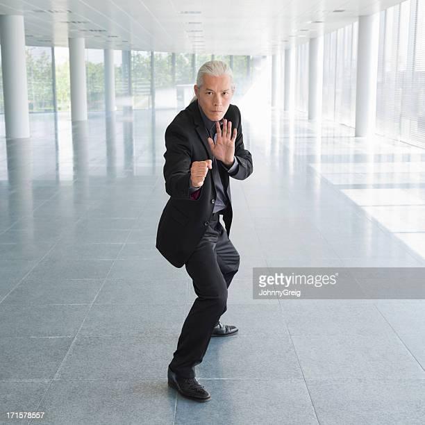 Geschäftsmann In Martial Arts Kampfpose