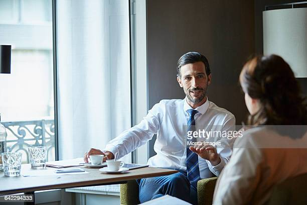 Businessman in meeting at hotel room