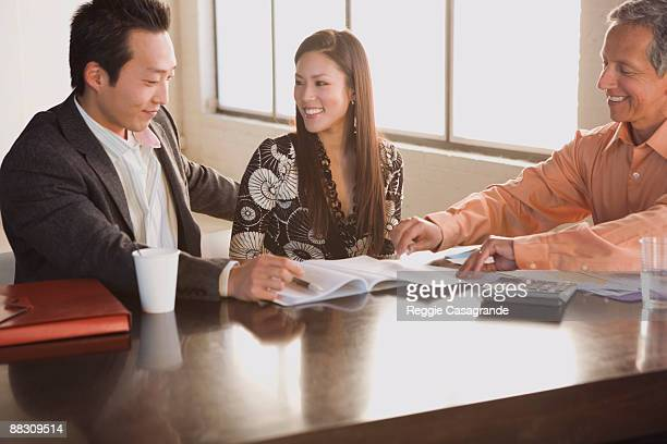 Businessman in meeting with clients