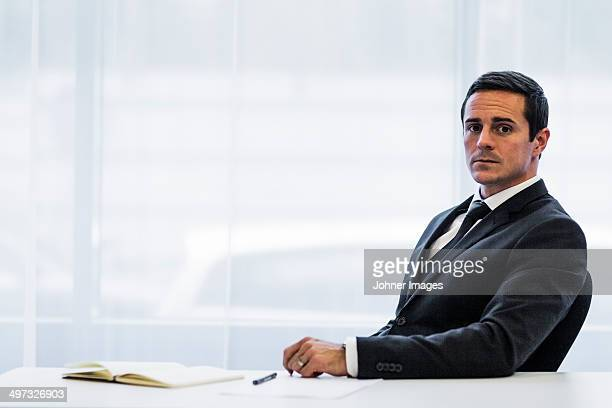 Businessman in office, Stockholm, Sweden