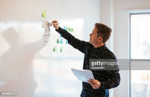 businessman in office writing on whiteboard - südeuropa stock-fotos und bilder