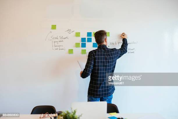 Businessman in office writing on whiteboard