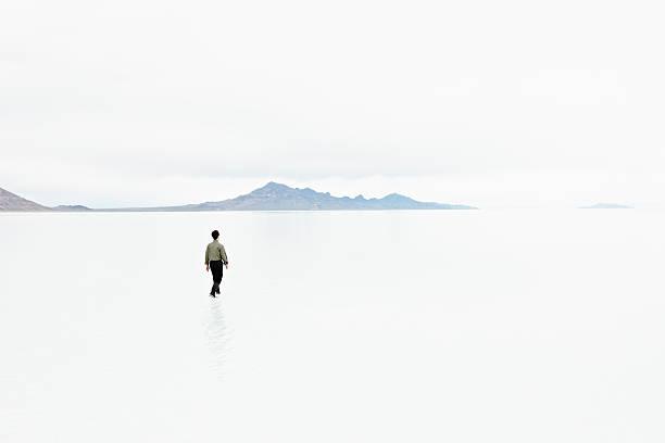 Businessman In Shallow Water In Desolate Landscape Wall Art