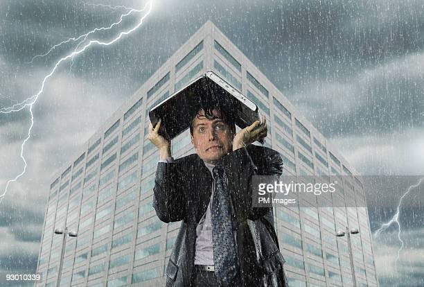 Businessman in Storm