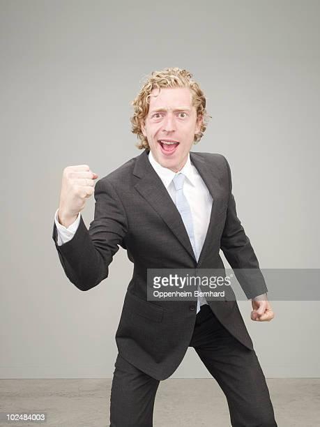 businessman in suit celebrating