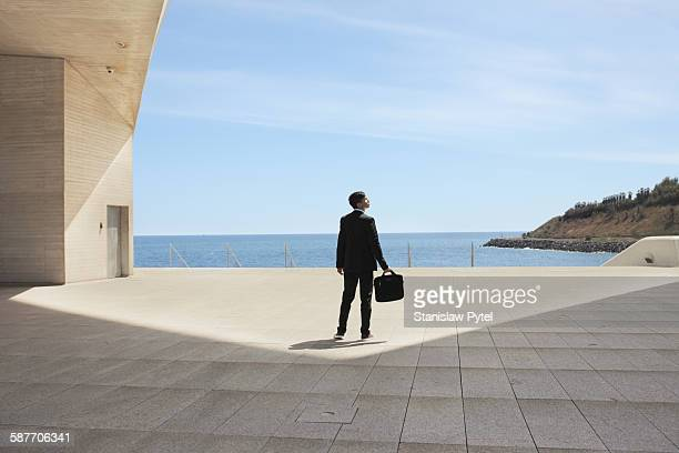 Businessman in suit with briefcase near ocean