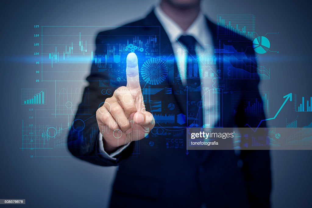 Businessman in suit working with digital virtual screen : Bildbanksbilder