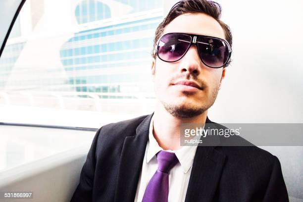 businessman in the metro