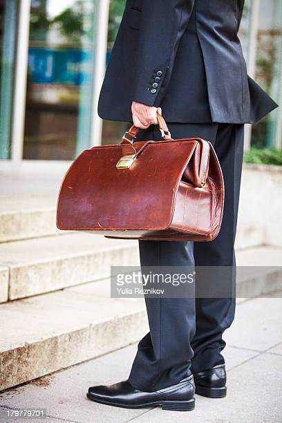 Businessman in the morning with bag