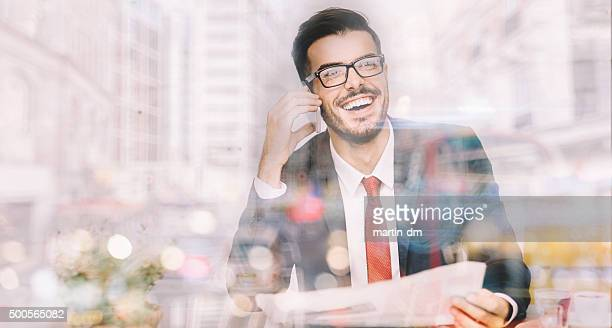 Businessman in the office having a phone call