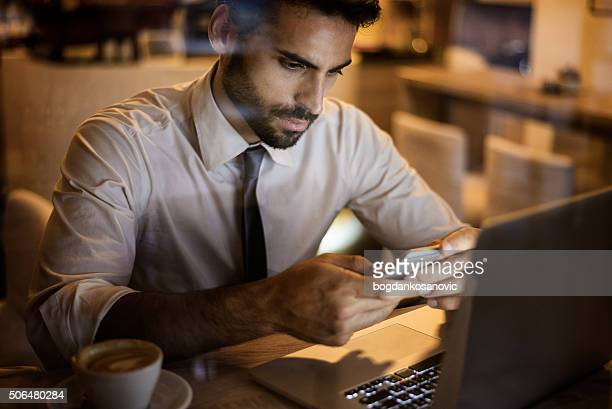 Businessman inside coffee shop