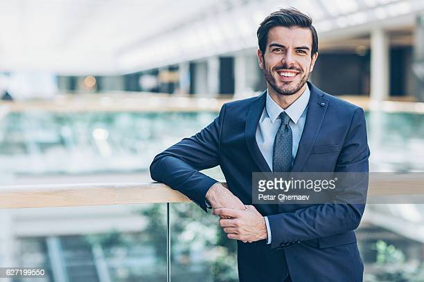 Businessman inside modern office building