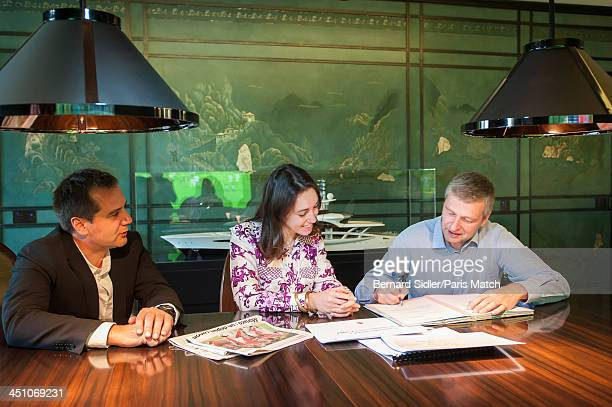 Businessman investor philanthropist and the owner of AS Monaco FC Dmitry Rybolovlev is photographed with his lawyer Tetiana Bersheda and adviser...