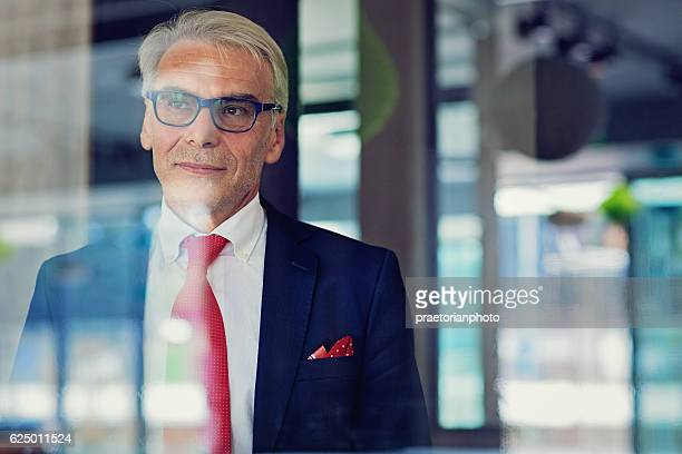 businessman is standing in his office - rich old man stock photos and pictures