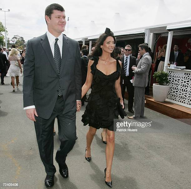 Businessman James Packer and his girlfriend Erica Baxter arrive at the Birdcage on the AAMI Victoria Derby Day part of the four day Melbourne Cup...