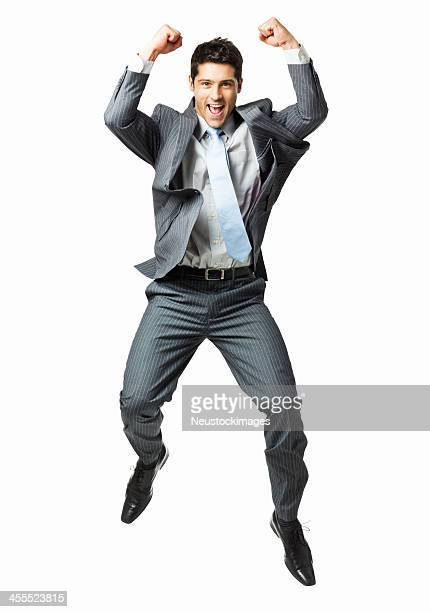 Businessman Jumping in Celebration - Isolated
