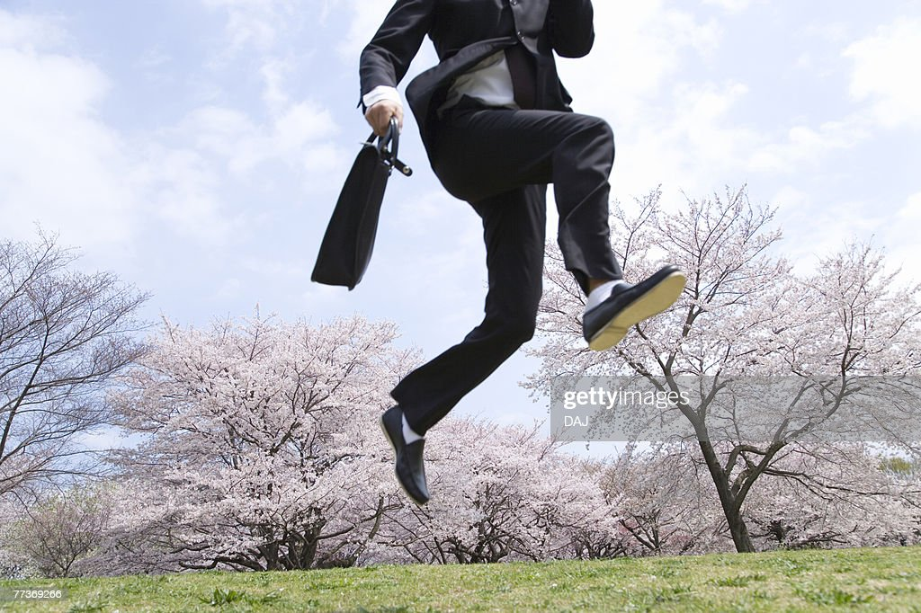 Businessman Jumping in the Field, Three Quarter Length, Low Angle View : Photo