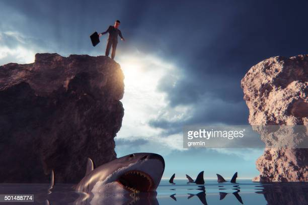 Businessman jumping into shark infested water