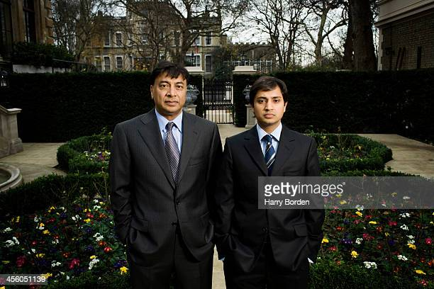 Businessman Lakshmi Mittal is photographed with his son Aditya Mittal for Fortune magazine on December 15 2006 in London England