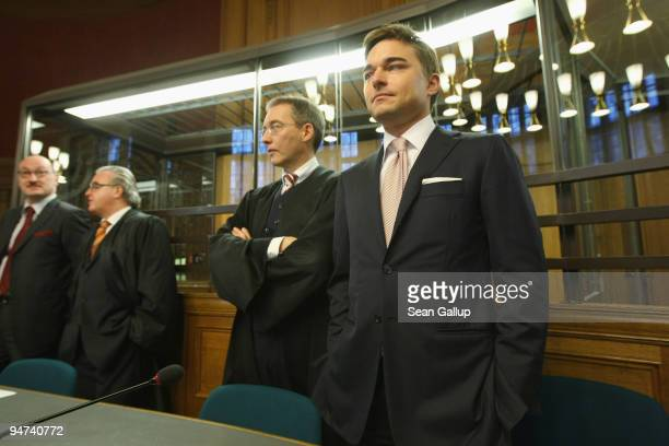 Businessman Lars Windhorst arrives for the first day of his trial at the Landgericht Berlin courthouse on December 18 2009 in Berlin Germany...