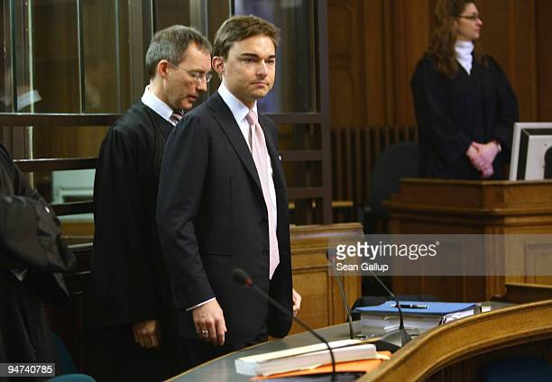 Businessman Lars Windhorst arrives with his lawyer for the first day of his trial at the Landgericht Berlin courthouse on December 18, 2009 in...
