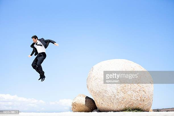 ビジネスマン跳オフ、ボルダー