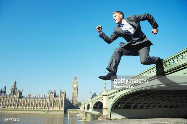 Businessman Leaps Over Westminster Bridge London