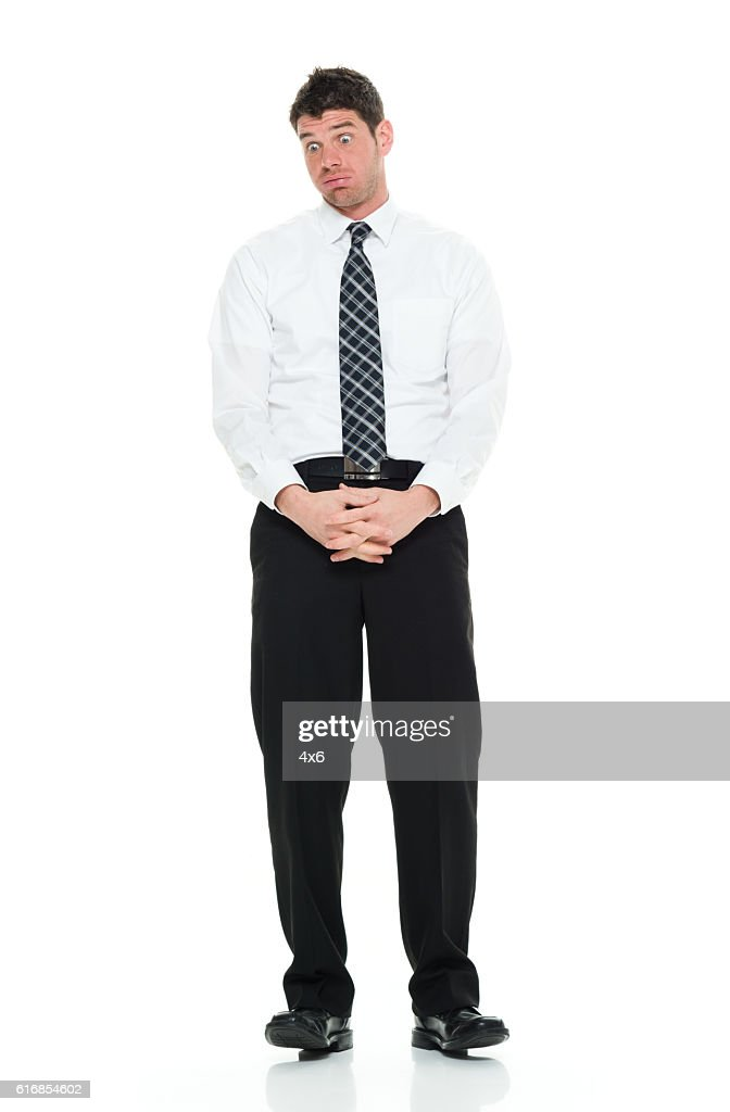 Businessman looking afraid : Stock Photo