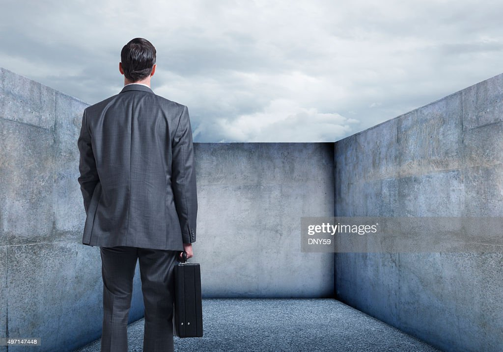 Businessman Looking At A Dead End : Stock Photo