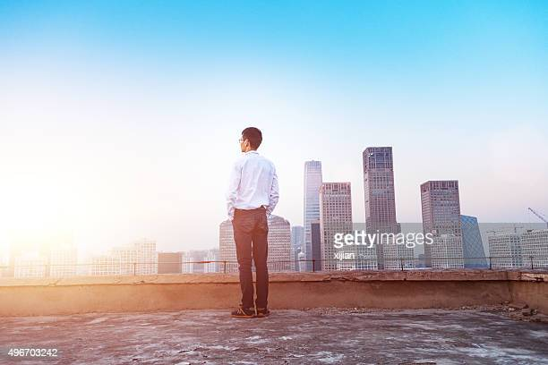 Businessman looking at cityscape with sunlight